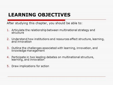 LEARNING OBJECTIVES After studying this chapter, you should be able to: 1.Articulate the relationship between multinational strategy and structure 2.Understand.