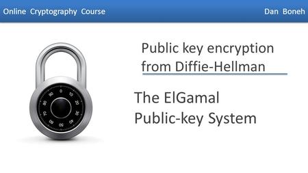 Dan Boneh Public key encryption from Diffie-Hellman The ElGamal Public-key System Online Cryptography Course Dan Boneh.