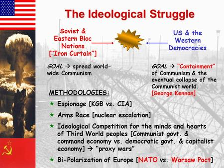 "The Ideological Struggle Soviet & Eastern Bloc Nations [""Iron Curtain""] US & the Western Democracies GOAL  spread world- wide Communism GOAL  ""Containment"""