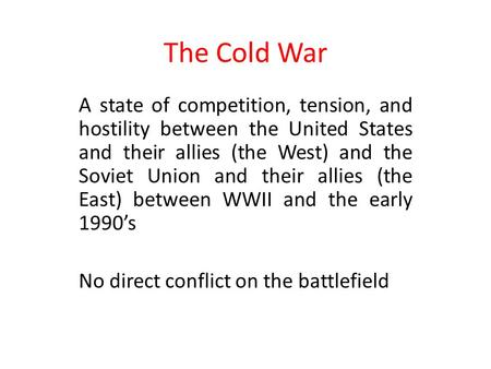 an overview of the cold war and the confrontations between the united states and the soviet union Cold war timeline study guide by  european and north american states against the soviet union and its east european  between the united states and.