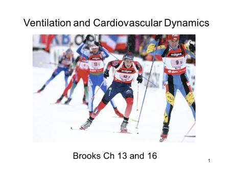 1 Ventilation and Cardiovascular Dynamics Brooks Ch 13 and 16.