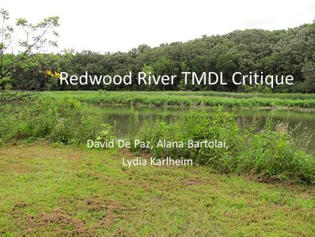 Redwood River TMDL Critique David De Paz, Alana Bartolai, Lydia Karlheim.