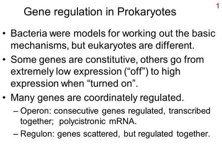 1 Gene regulation in Prokaryotes Bacteria were models for working out the basic mechanisms, but eukaryotes are different. Some genes are constitutive,