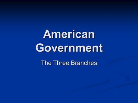 American Government The Three Branches. The United States Constitution was written in 1787. It explains how the United States Government is to be run.