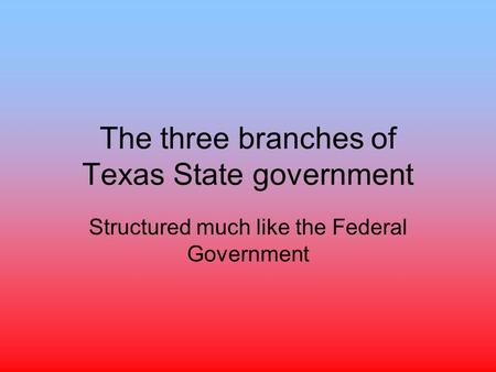 The three branches of Texas State government Structured much like the Federal Government.