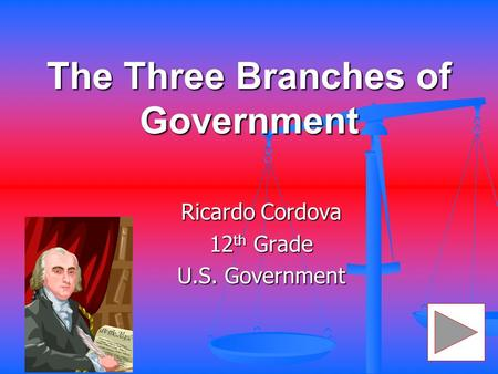 The Three Branches of Government Ricardo Cordova 12 th Grade U.S. Government.