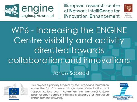 WP6 - Increasing the ENGINE Centre visibility and activity directed towards collaboration and innovations Janusz Sobecki.