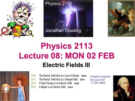 Physics 2113 Lecture 08: MON 02 FEB Electric Fields III Physics 2113 Jonathan Dowling Charles-Augustin de Coulomb (1736-1806)