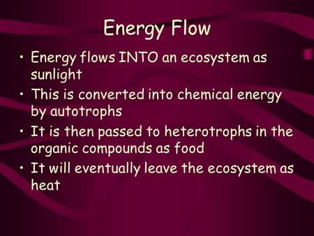 Energy Flow Energy flows INTO an ecosystem as sunlight This is converted into chemical energy by autotrophs It is then passed to heterotrophs in the organic.