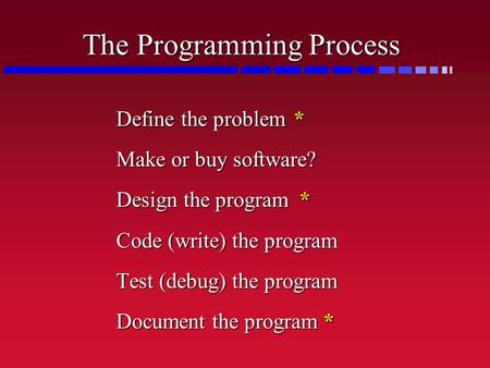 The Programming Process Define the problem* Make or buy software? Design the program * Code (write) the program Test (debug) the program Document the.