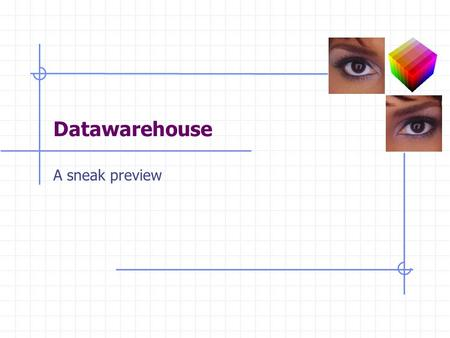 Datawarehouse A sneak preview. 2 Data Warehouse Approach An old idea with a new interest: Cheap Computing Power Special Purpose Hardware New Data Structures.