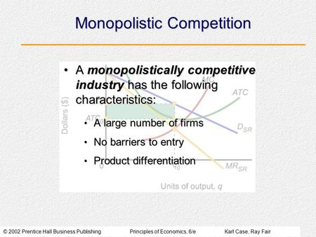 © 2002 Prentice Hall Business PublishingPrinciples of Economics, 6/eKarl Case, Ray Fair Monopolistic Competition A monopolistically competitive industry.