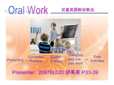 兒童英語教材教法 Presenter: 20978L020 胡美英 P33-39 Presenting Controlled Practice Guided Practice Free Activities Dialogues and role play work → →→ →