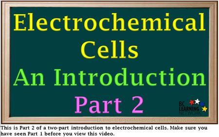 This is Part 2 of a two-part introduction to electrochemical cells. Make sure you have seen Part 1 before you view this video.