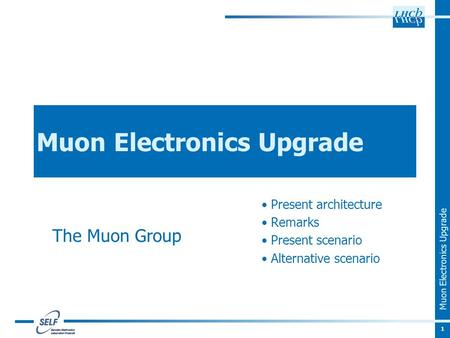 Muon Electronics Upgrade Present architecture Remarks Present scenario Alternative scenario 1 The Muon Group.