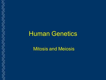 Human Genetics Mitosis and Meiosis. Chromosomes and Cell Division  How are Chromosomes replicated?  Cell Division:  Why are there two types: mitosis.