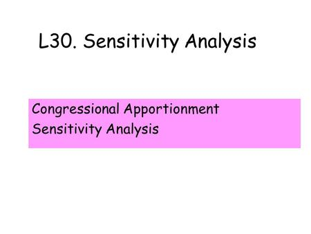 L30. Sensitivity Analysis Congressional Apportionment Sensitivity Analysis.