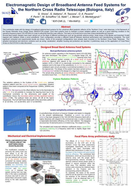 Electromagnetic Design of Broadband Antenna Feed Systems for the Northern Cross Radio Telescope (Bologna, Italy) Designed Broad Band Antenna Feed Systems.