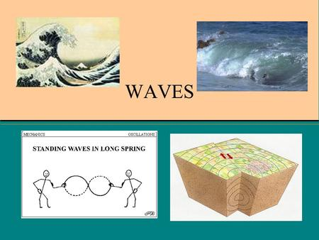 WAVES. COS 9.0, 9.1,9.2 WHAT YOU'LL LEARN Recognize that waves transfer energy. Distinguish between mechanical waves and electromagnetic waves. Explain.