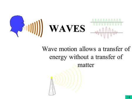 WAVES Wave motion allows a transfer of energy without a transfer of matter.