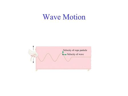 Wave Motion. Conceptual Example: Wave and Particle Velocity Is the velocity of a wave moving along a cord the same as the velocity of a particle of a.