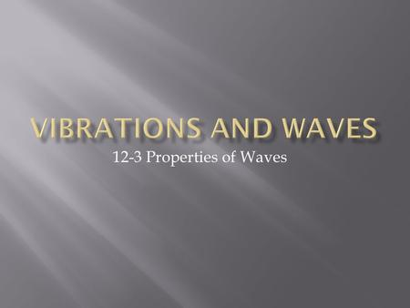 12-3 Properties of Waves.  A wave is the motion of a disturbance.  Waves of almost every kind require a material medium to travel through.  Waves that.