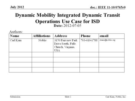 Submission doc.: IEEE 11-10/0765r0 July 2012 Carl Kain, Noblis, Inc.Slide 1 Dynamic Mobility Integrated Dynamic Transit Operations Use Case for ISD Date: