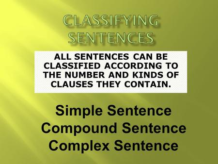 ALL SENTENCES CAN BE CLASSIFIED ACCORDING TO THE NUMBER AND KINDS OF CLAUSES THEY CONTAIN. Simple Sentence Compound Sentence Complex Sentence.