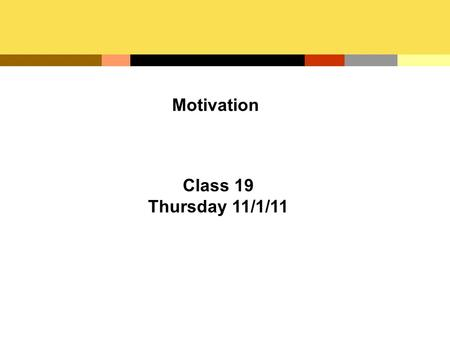 Motivation Class 19 Thursday 11/1/11. The Nature of Human Relations What motivates employees to perform on the job is the focus of human relations –The.