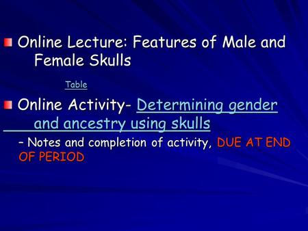 Online Lecture: Features of Male and Female Skulls Online Lecture: Features of Male and Female Skulls Table Online Activity- Determining gender and ancestry.