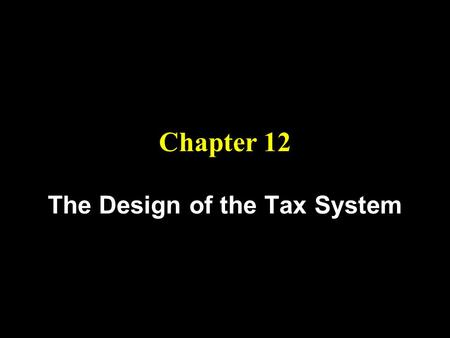 Chapter 12 The Design of the Tax System. Objectives 2.) Understand the efficiency cost of taxation. 3.) Learn the criteria for evaluating the equity of.