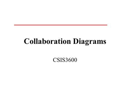 Collaboration Diagrams CSIS3600. What is a Collaboration Diagram Collaboration diagrams illustrate interactions between objects The collaboration diagram.