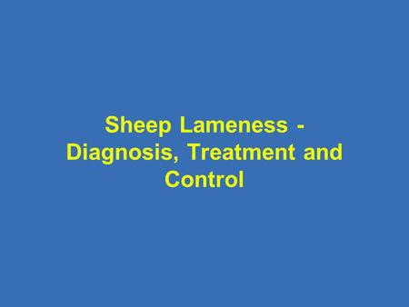 Sheep Lameness - Diagnosis, Treatment and Control.