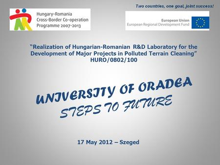"UNIVERSITY OF ORADEA STEPS TO FUTURE ""Realization of Hungarian-Romanian R&D Laboratory for the Development of Major Projects in Polluted Terrain Cleaning"""