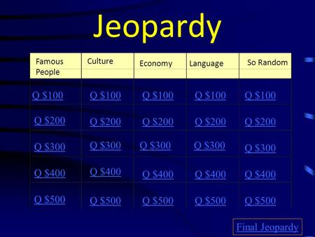 Jeopardy Famous People Culture So Random Q $100 Q $200 Q $300 Q $400 Q $500 Q $100 Q $200 Q $300 Q $400 Q $500 Final Jeopardy EconomyLanguage.