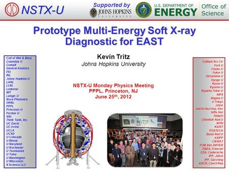Prototype Multi-Energy Soft X-ray Diagnostic for EAST Kevin Tritz Johns Hopkins University NSTX-U Monday Physics Meeting PPPL, Princeton, NJ June 25 th,