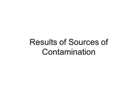 Results of Sources of Contamination. Fungi Bacteria.