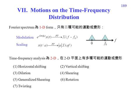 189 VII. Motions on the Time-Frequency Distribution (1) Horizontal shifting (2) Vertical shifting (3) Dilation (4) Shearing (5) Generalized Shearing (6)