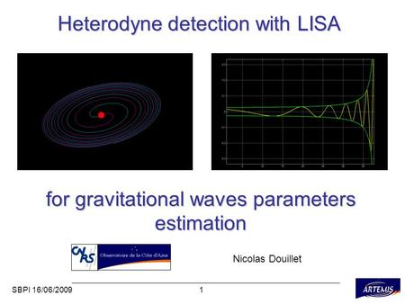 1SBPI 16/06/2009 Heterodyne detection with LISA for gravitational waves parameters estimation Nicolas Douillet.