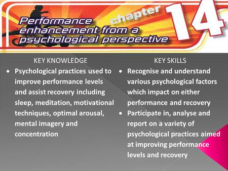 KEY KNOWLEDGEKEY SKILLS  Psychological practices used to improve performance levels and assist recovery including sleep, meditation, motivational techniques,