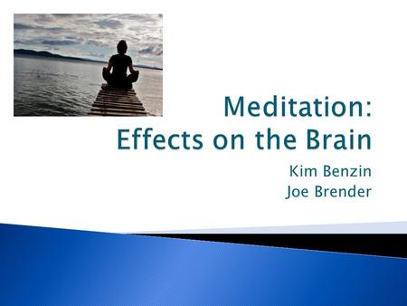 Kim Benzin Joe Brender.  Meditation is defined as a type of practice in where the people meditating control their minds or encourage a mode of awareness.