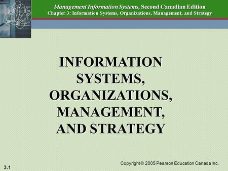 3.1 Copyright © 2005 Pearson Education Canada Inc. Management Information Systems, Second Canadian Edition Chapter 3: Information Systems, Organizations,