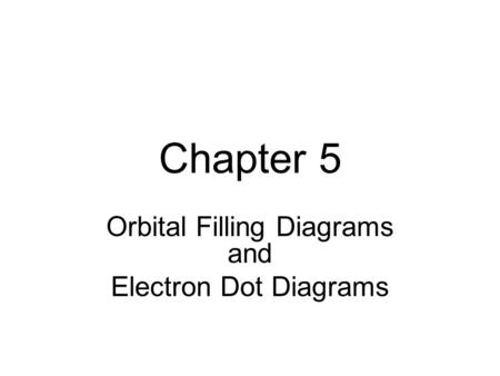 Chapter 5 Orbital Filling Diagrams and Electron Dot Diagrams.