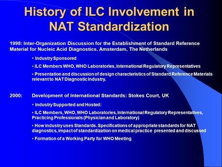 History of ILC Involvement in NAT Standardization 1998: Inter-Organization Discussion for the Establishment of Standard Reference Material for Nucleic.