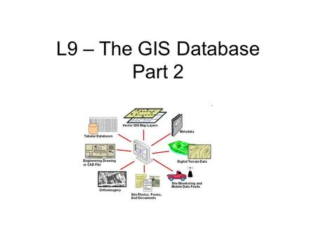 L9 – The GIS Database Part 2. Relational Databases The relational database model was defined by E.F. Codd. This is the most common database design due.