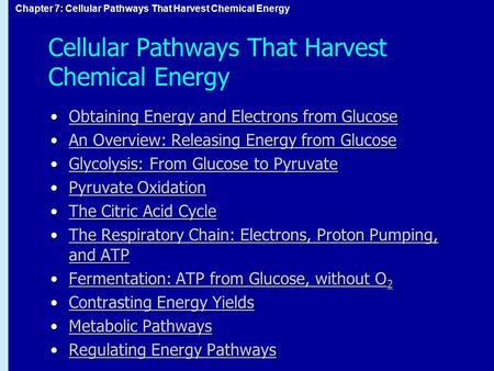 Chapter 7: Cellular Pathways That Harvest Chemical Energy Cellular Pathways That Harvest Chemical Energy Obtaining Energy and Electrons from GlucoseObtaining.