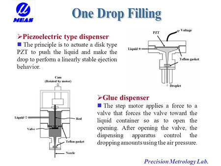 Precision Metrology Lab.  Piezoelectric type dispenser The principle is to actuate a disk type PZT to push the liquid and make the drop to perform a linearly.