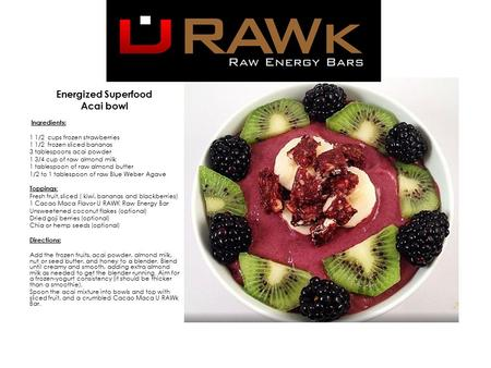 Energized Superfood ​ Acai bowl ​​ Ingredients: 1 1/2 cups frozen strawberries 1 1/2 frozen sliced bananas 3 tablespoons acai powder 1 3/4 cup of raw almond.