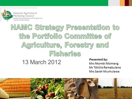 Strategic positioning of South African agriculture in dynamic global markets 13 March 2012 Presented by: Mrs Ntombi Msimang Mr Tshililo Ramabulana Mrs.
