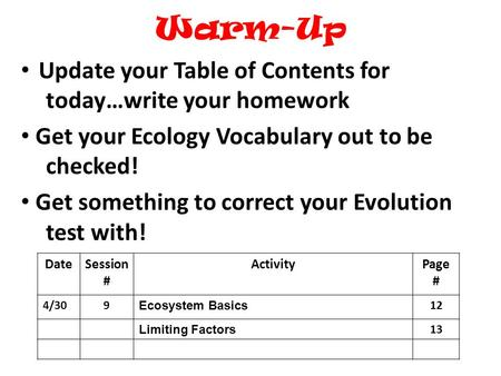 Warm-Up Update your Table of Contents for today…write your homework Get your Ecology Vocabulary out to be checked! Get something to correct your Evolution.